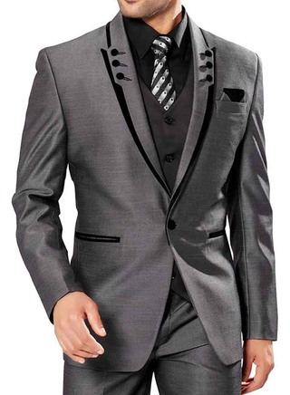 Mens Gray Polyester Party Wear 6 Pc Suit