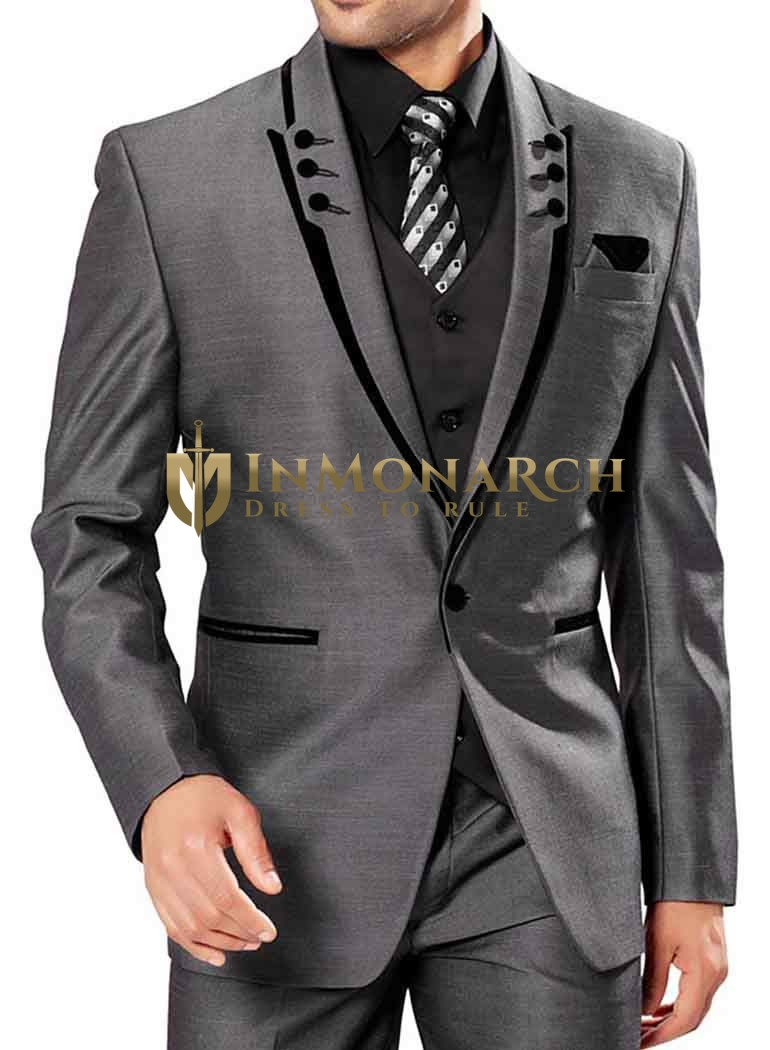 Handsome Gray Party Wear 6 Pc Suit Tuxedo