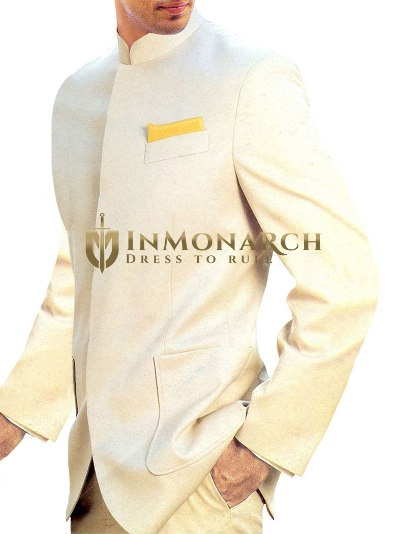 Mens Ivory Nehru Suit Wedding Concealed Button-3 Pc