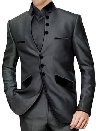 Mens Gray 3 pc Indian Nehru collar Suit