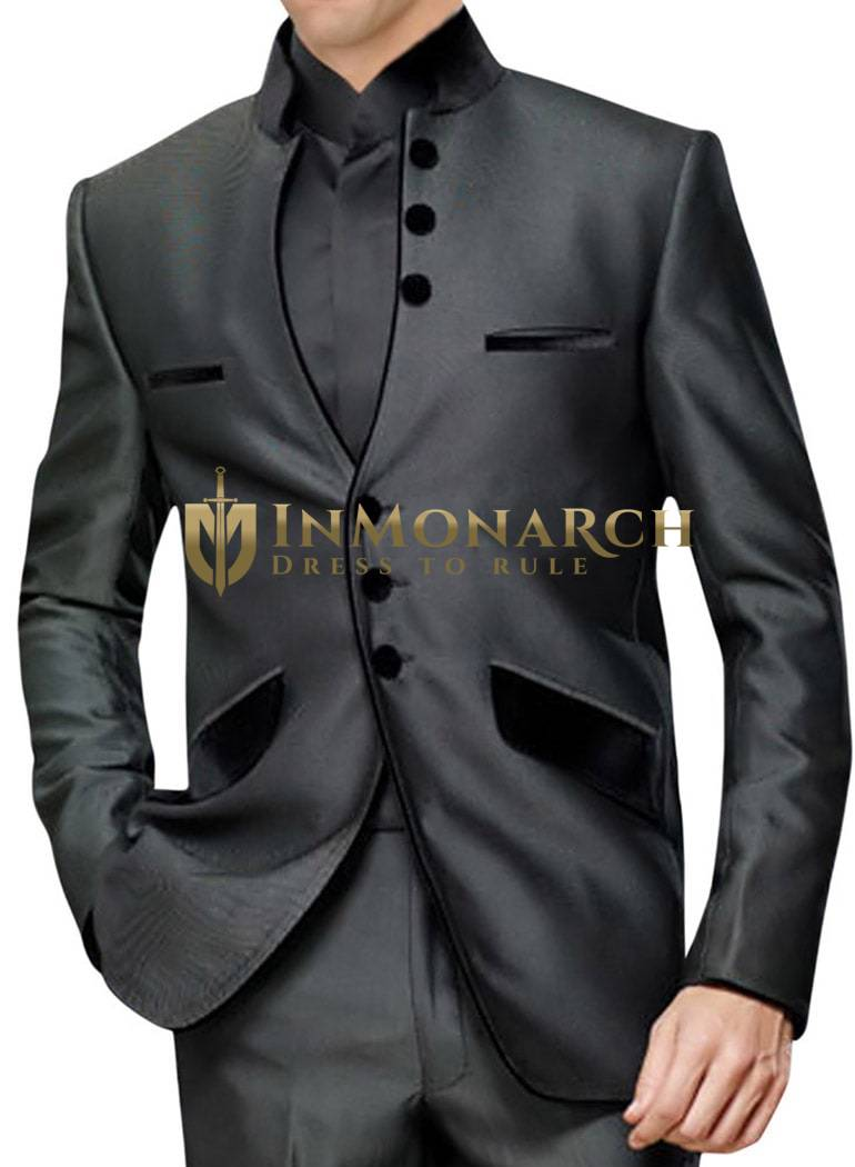 Mens Dark Grey Nehru Suit Awesome Front Open-3 pc