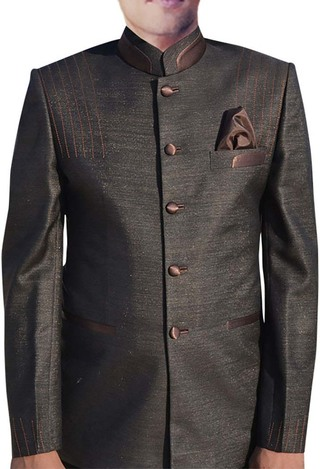 Mens Brown 3 Pc Nehru Suit Traditional 5 Button