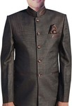 Mens Brown Nehru Suit Traditional 5 Button-3 Pc