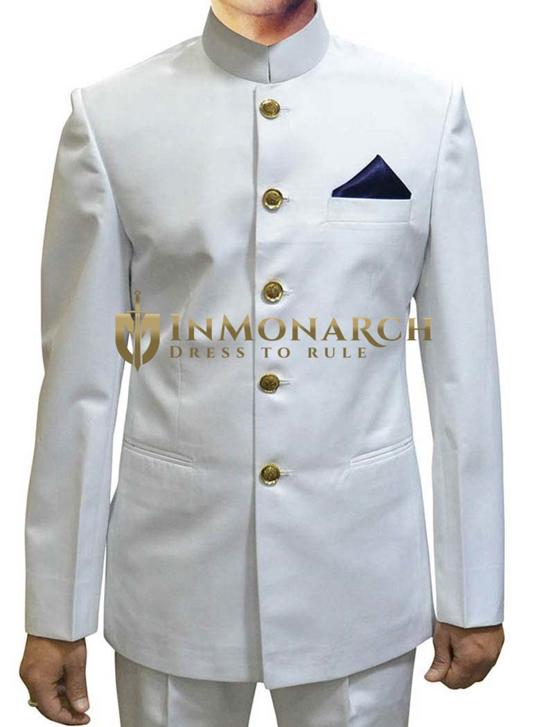 Mens White Nehru Suit Attractive 5 Button-3 Pc