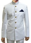 Mens White 3 Pc Indian Nehru collar Suit Wedding
