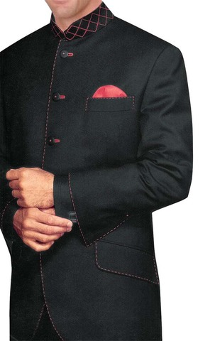 Mens Black 3 Pc Indian Nehru collar Suit Wedding 5 Button