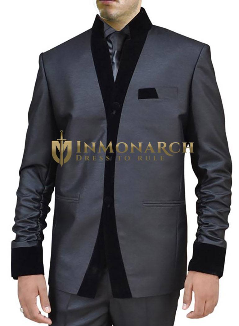 Mens Black Nehru Suit Reception Open Front-2 Pc