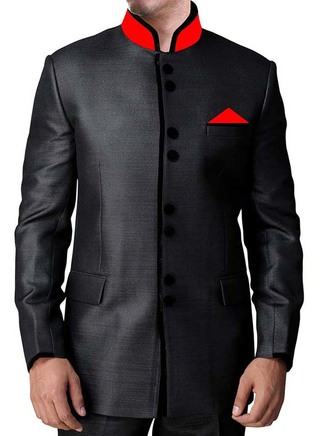 Mens Black Polyester 3 Pc  Indian Nehru collar Suit 8 Button