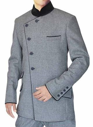Groom Grey Nehru Suit Reception 5 Buton-2 Pc