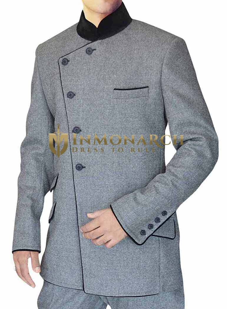 Mens Grey 2 Pc Indian Nehru collar Suit Angrakha Style