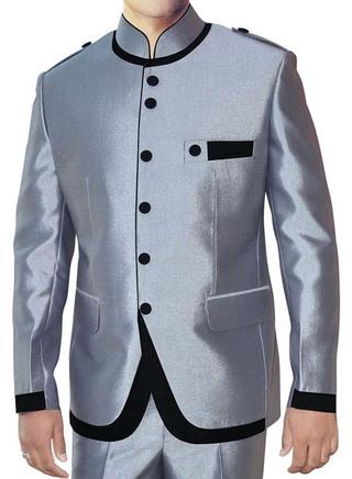 Mens Silver Nehru Suit Mandarin Collar 6 Button-2 Pc