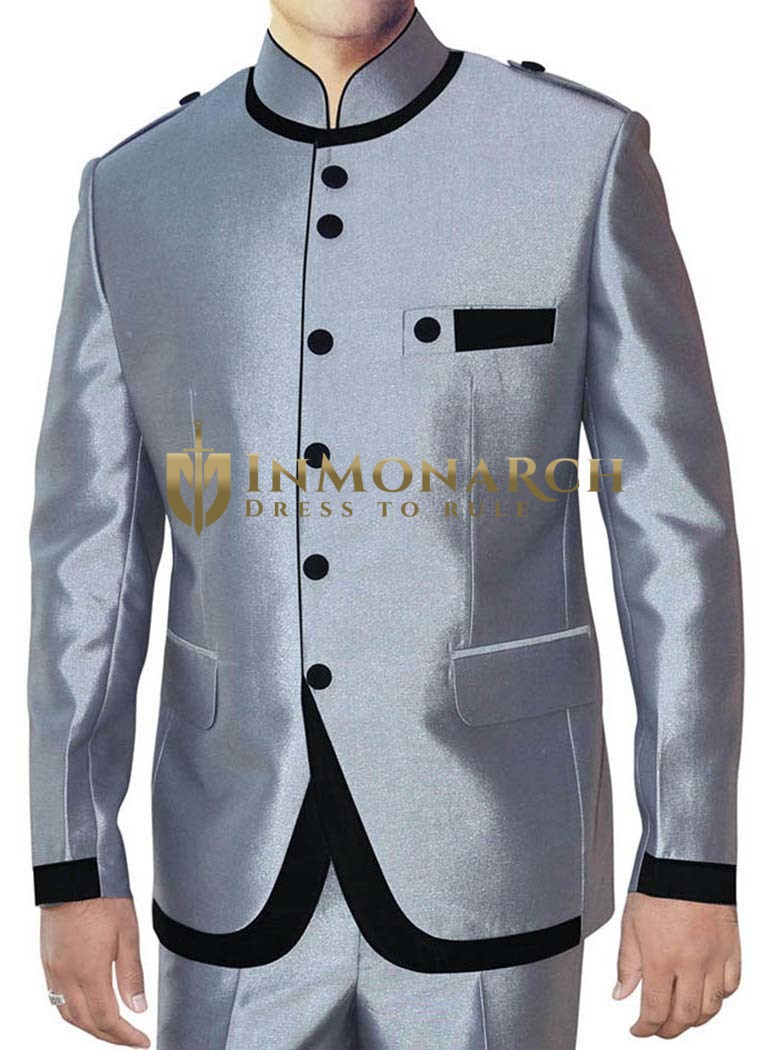 Silver Mens Indian Nehru collar Suit