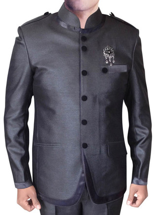 Mens Purple Gray 3 Pc Indian Nehru collar Suit Satin Trimmed