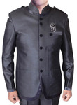 Mens Purple Gray Nehru Suit Awesome 6 Button-3 Pc