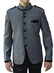 Mens Gray Nehru Suit Royal 6 Button-2 Pc