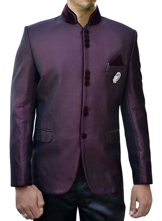 Mens Wine 4 Pc Nehru Suit 10 Button Designer