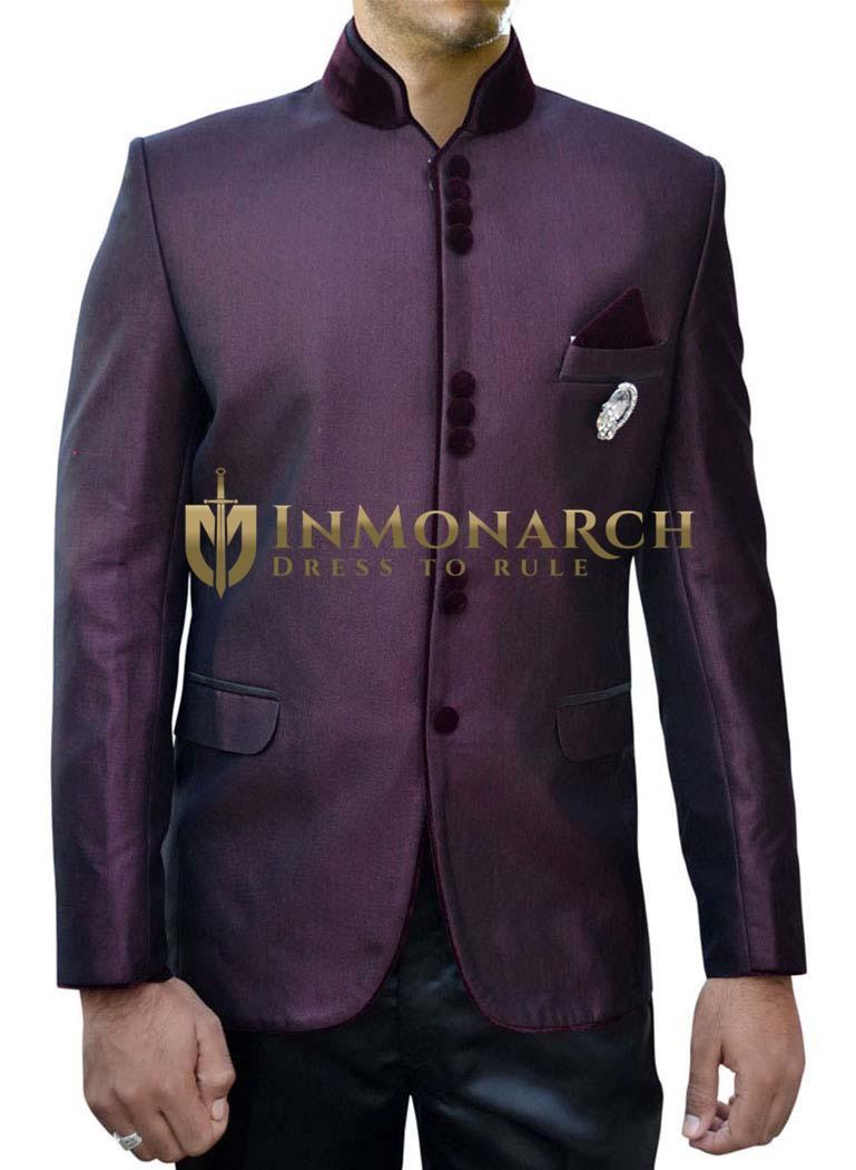 Mens Wine Nehru Suit Wonderful 10 Button-4 Pc