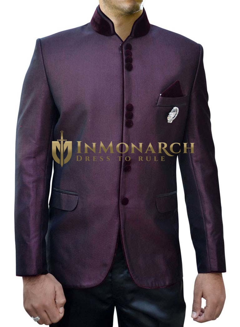 Mens Wine 4 Pc Indian Nehru collar Suit 10 Button Designer