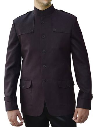 Mens Wine 2 Pc Nehru Suit 5 Button Patched