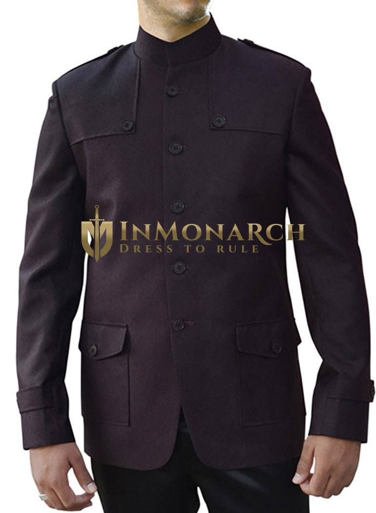 Mens Wine 2 Pc Indian Nehru collar Suit 5 Button Patched