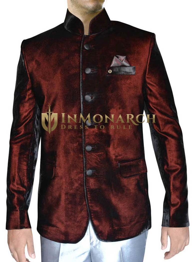 Mens Burgundy Velvet 3 Pc Nehru Suit 6 Button