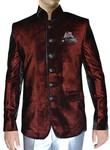 Mens Burgundy Velvet Nehru Suit Classic 6 Button-3 Pc