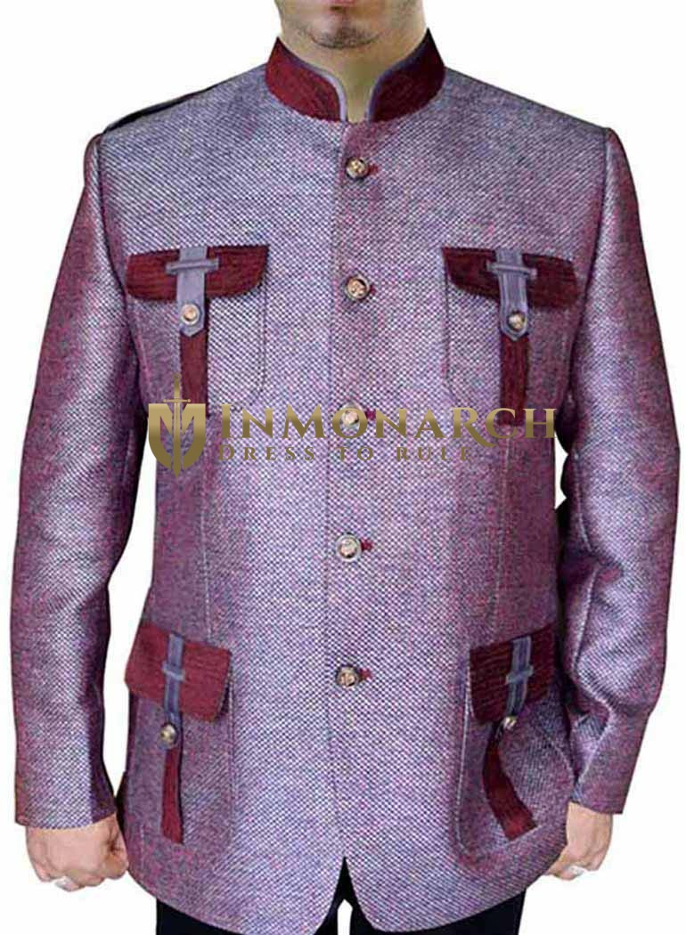 Mens Pink Jute 2 Pc Nehru Suit Hunting Style