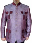 Mens Pink Nehru Suit hunting style Jute 5 Button-2 Pc
