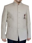 Mens Cream Cotton 3 Pc Indian Nehru collar Suit 5 Button