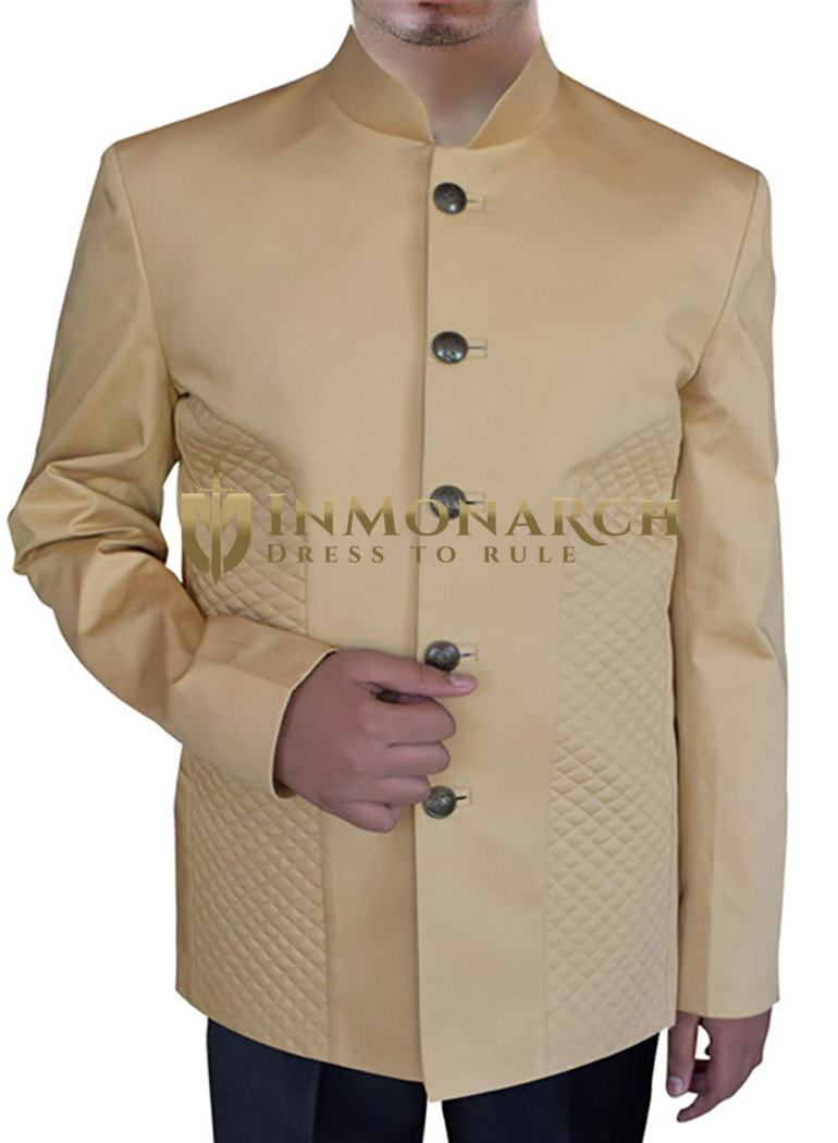 Mens Beige Cotton 2 Pc Nehru Suit 5 Button Ethnic