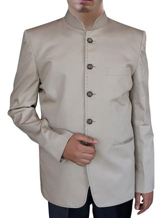 Mens linen Nehru Suit in Natural Color