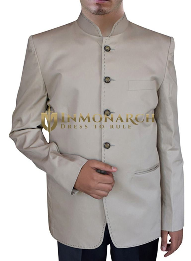 Mens Natural Cotton Nehru Suit Spectacular 5 Button-2 Pc