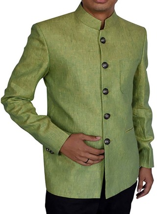 Mens Green Linen Nehru Suit Bold 5 Button-2 Pc