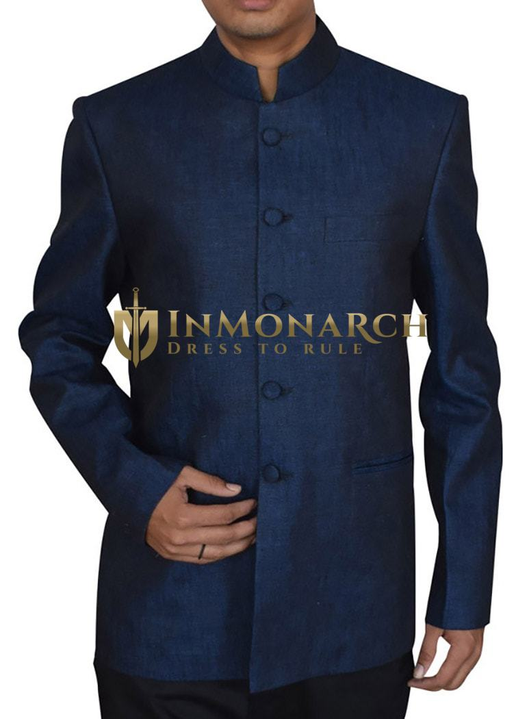 Mens Navy Blue Linen Nehru Suit Dazzling 5 Button-2 Pc