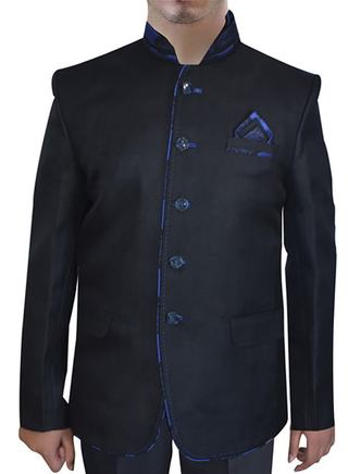 Mens Black Jute 3 Pc Nehru Suit Designer