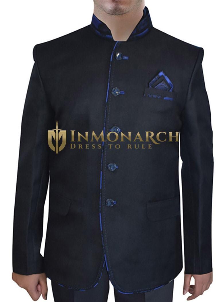 Mens Black Jute Nehru Suit Fashionable 5 Button-3 Pc