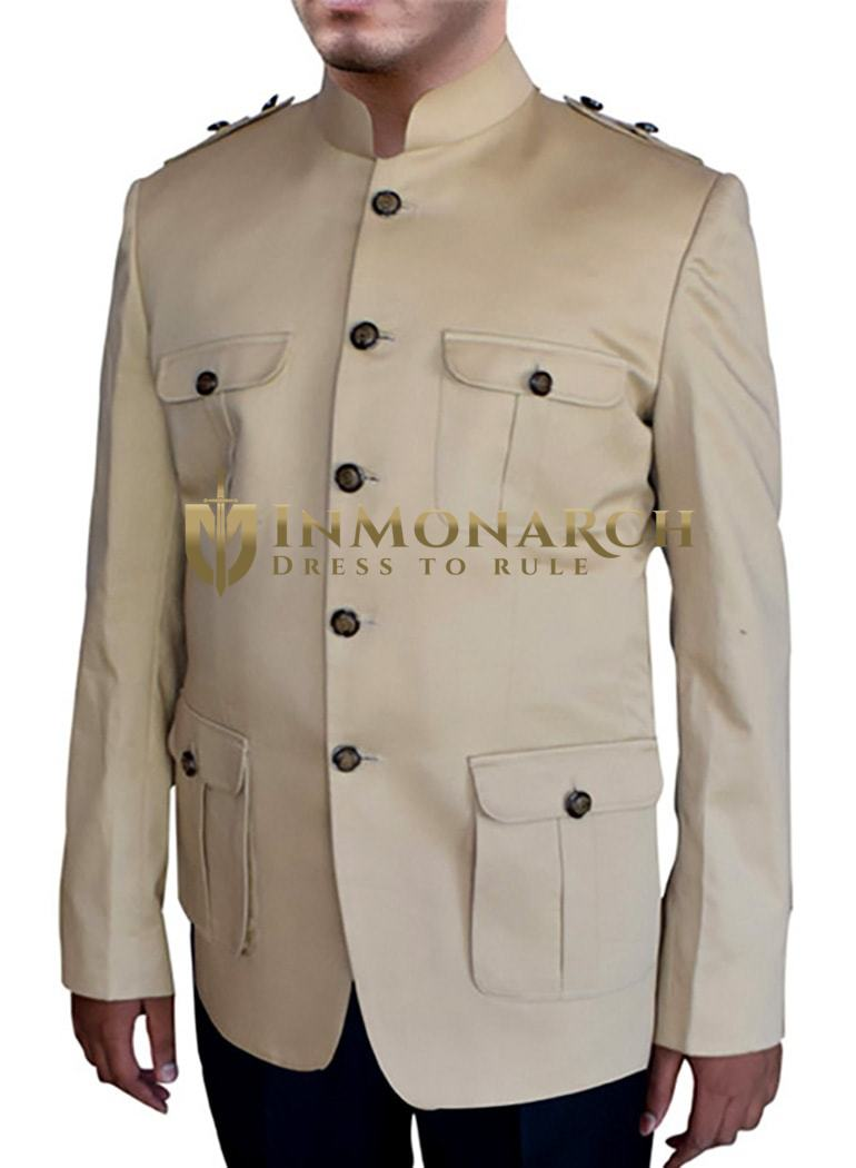 Mens Beige 2 Pc Nehru Suit Hunting Style 5 Button