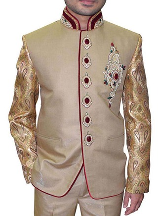 Mens Tan 2 Pc Indian Nehru collar Suit Royal Concealed Button