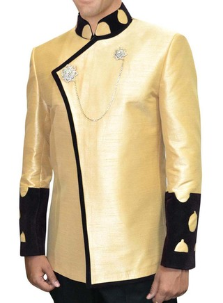 Mens Yellow Dupion 3 Pc Indian Nehru collar Suit Concealed Button