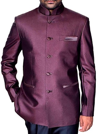Mens Burgundy Nehru Suit Graceful 5 Button-2 Pc