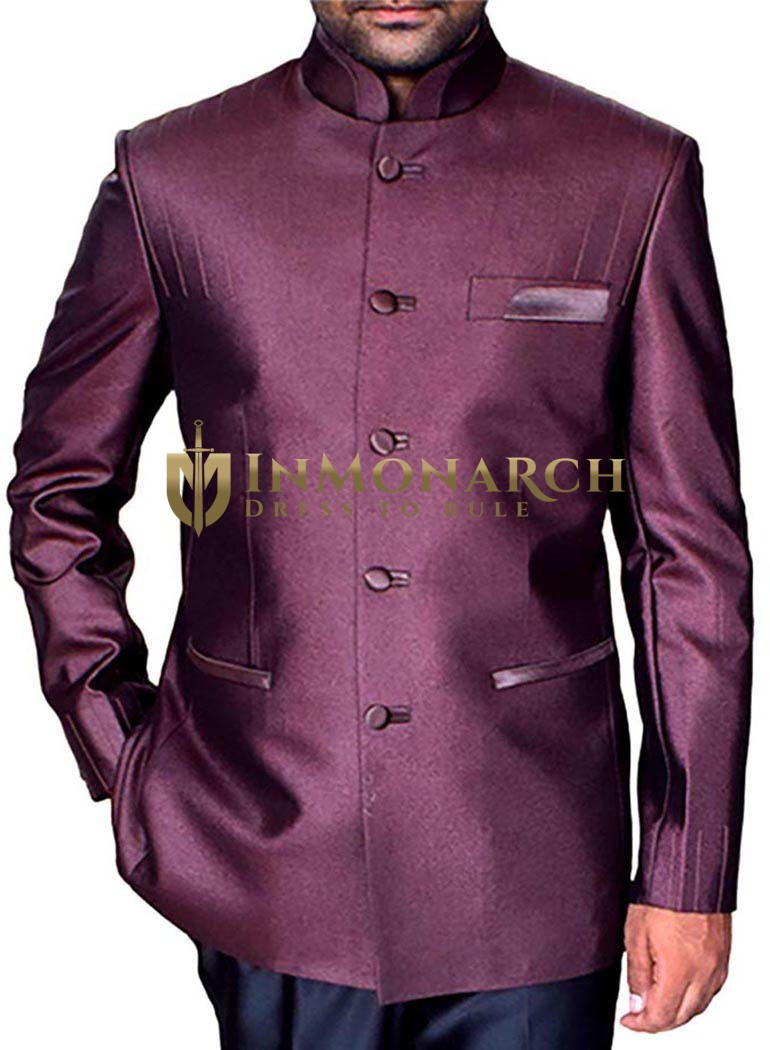 Mens Burgundy 2 Pc Indian Nehru collar Suit Traditional