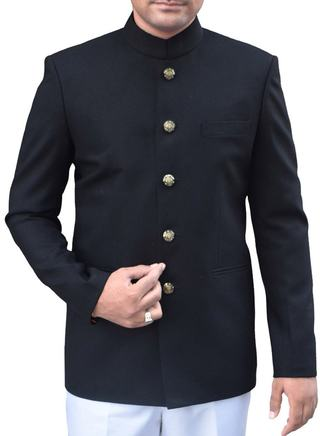 Mens Black Polyester 2 Pc Indian Nehru collar Suit Party Wear 5 Button