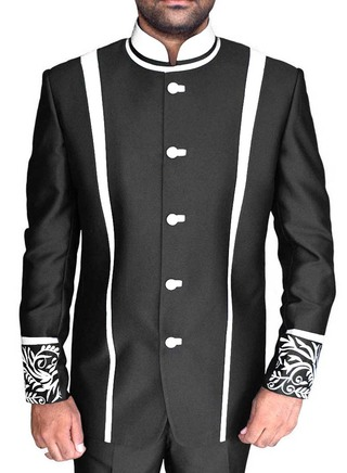 Mens Black 2 Pc Indian Nehru collar Suit Patch Work 5 Button
