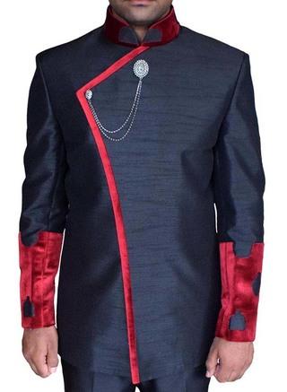 Mens Black Dupion 3 Pc Indian Nehru collar Suit Concealed Button