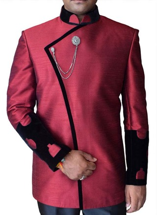 Mens Maroon Dupion 3 Pc Nehru Suit Concealed Button