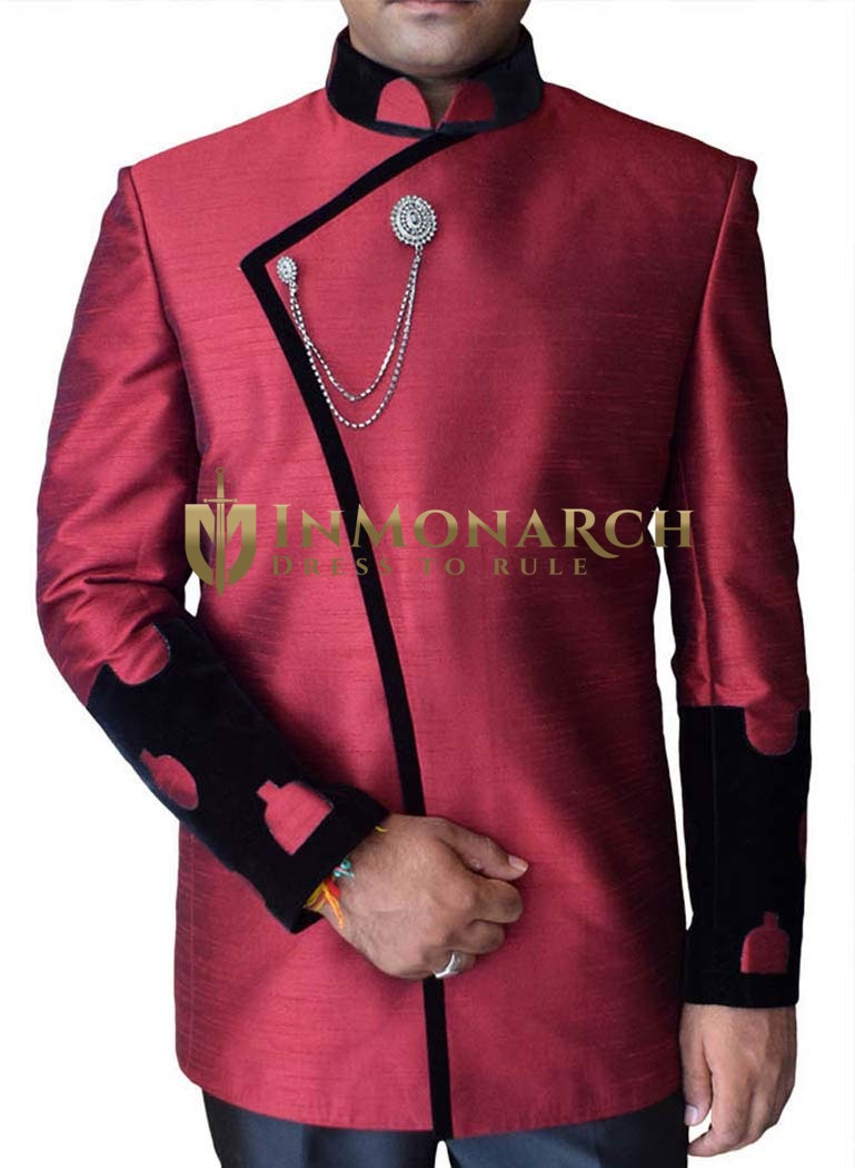 Mens Maroon Dupion Nehru Suit Conspicuous Concealed Button-3 Pc
