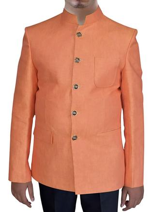 Mens Orange Linen 2 Pc Indian Nehru collar Suit 5 Buton