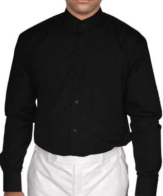 Mens Black Cotton Nehru Collar Shirt Long Sleeve