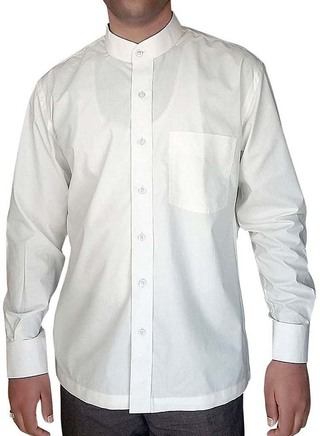 Mens White Cotton Nehru Collar Shirt Long Sleeve