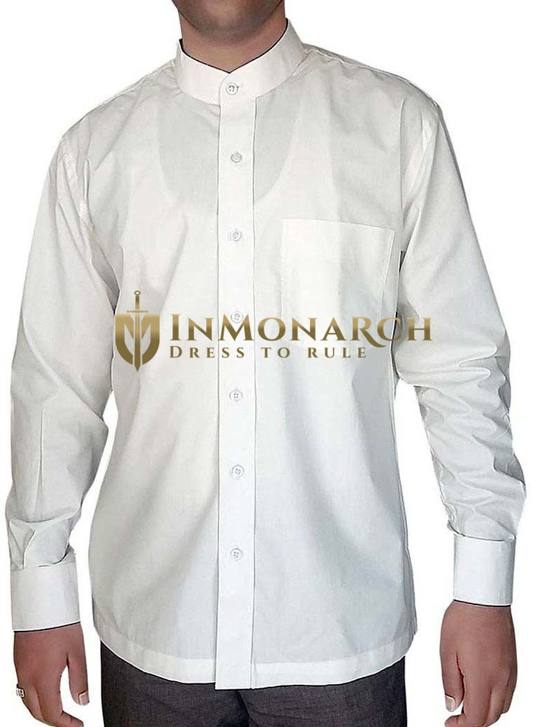 Mens White Cotton Nehru Collar Shirt